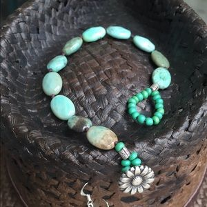 Faceted Chrysoprase on Hemp Bracelet Earring Set